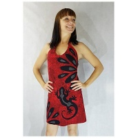 robe dos nu rouge gecko jungle coton